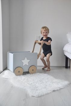 Toy chest gray wagon nursery for girls push toy boys dolls pram wooden stroller kid, eco toys bedding Toys For Boys, Kids Toys, Kids Art Galleries, Push Toys, Wooden Cart, Modern Kids Furniture, Scandinavian Nursery, Dolls Prams, Boy Doll