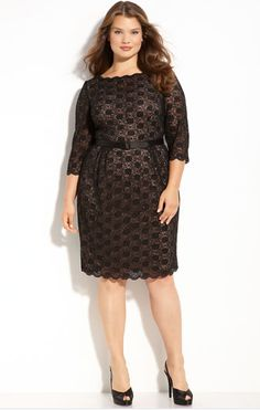 Alex Evenings Belted Lace Sheath Dress