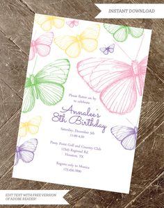 printable butterfly party invitation por InstantPartyPlanner