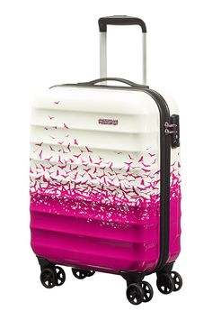 Blue pink roses floral suitcase bag luggage suitcase wheeled case ...