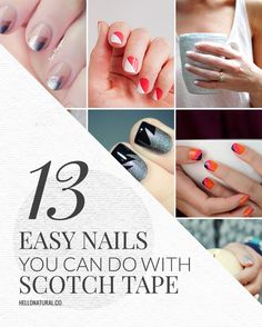 13 Easy Nail Designs You Can Do With Scotch Tape | http://hellonatural.co/13-easy-nail-designs-can-scotch-tape/