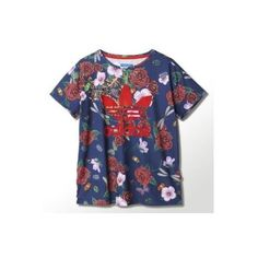 Adidas Originals x Rita Ora Roses Loose T Shirt XL Blue Red White | eBay found on Polyvore