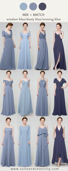 mismatched bridesmaid dresses 2020 in blues shades, light sky blue, dusty blue, evening blue#wedding #weddinginspiration #bridesmaids #bridesmaiddresses #bridalparty #maidofhonor #weddingideas #weddingcolors #tulleandchantilly Ankara Gown Styles, Ankara Gowns, Mismatched Bridesmaid Dresses, Bridesmaids, Wedding Dresses, Blue Wedding, Wedding Colors, Long Shorts, Dusty Blue