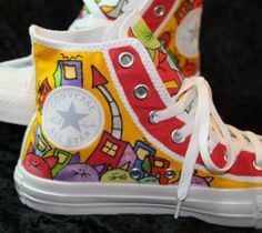 hand painted colorful whimsical kitty cat shoes