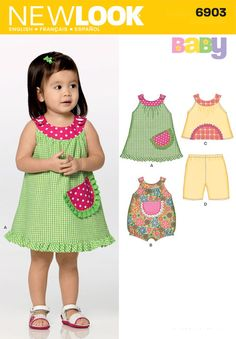 New Look 6903 Babies Dress, Top, Pants and Romper sewing pattern Baby Girl Dress Patterns, Baby Clothes Patterns, Sewing Patterns Girls, Little Girl Dresses, Baby Outfits, Toddler Outfits, Kids Outfits, Summer Outfits, Baby Frocks Designs