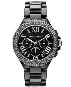 Michael Kors Watch, Women's Chronograph Camille Black Ceramic Bracelet 43mm MK5844