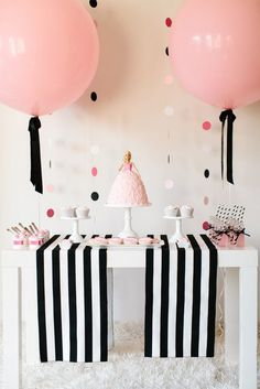Classic / retro Vintage Barbie Doll theme little girls birthday or slumber / sleepover party! Soft Pink, black, and white decorations. Love the cake centerpiece and GIANT round hanging balloons decor Barbie Birthday Party, Barbie Party, Girl Birthday, Birthday Parties, Barbie Cake, Birthday Weekend, 13th Birthday, Barbie Doll, Birthday Ideas