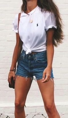 #summer #fashion / t shirt + denim shorts