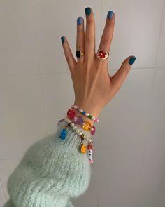 Cute Acrylic Nails, Acrylic Nail Designs, Cute Nails, Pretty Nails, Fancy Nails, Cute Jewelry, Beaded Jewelry, Beaded Bracelet, Diy Jewelry