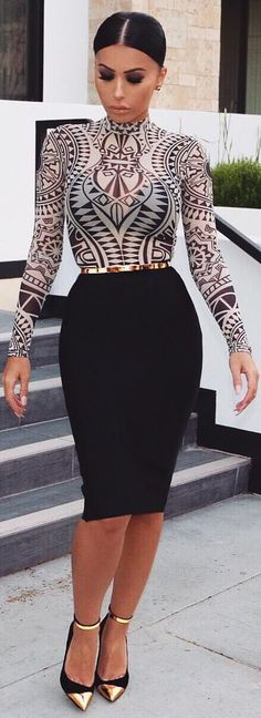 Top & Skirt @hotmiamistyles, Shoes @balmain, Belt @asos / Fashion Look by @amrezy