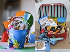 Genius.  Wedding favor to keep the kids busy at the ceremony and reception.  Comes with many things such as coloring books, crayons, stickers, bubbles, candy, snacks, toys, stuffed animials, playdough, camera, blocks, cards ect....