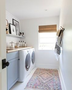Laundry room with penny rounds, butcher block and a pretty kilim #mindygayerdesign