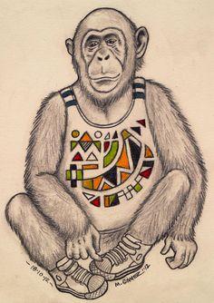 """""""Brass Monkey"""" Sketch-A-Day 18-10-2012  © 2012 Mauricio Gomez"""
