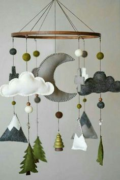 Woodland Nursery / Felt Mobile / Mountain Nursery / Felt Moon / Gray White Green / Nursery Decor / Cross / Monochrome / Scandinavian Decor - My best diy and crafts list Baby Boy Rooms, Baby Bedroom, Baby Boy Nurseries, Babies Nursery, Kids Rooms, Childrens Bedrooms Boys, Boy Babies, Small Nurseries, Mountain Nursery