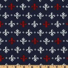 Fleur De Lis Fabric Pattern | Metro Living Fleur De Lis Navy