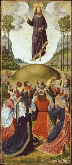 French (Picardy)  Altarpiece from Thuison-les-Abbeville: The Ascension, 1490/1500  Oil on panel 46 1/4 x 20 in. (117.4 x 50.8 cm); painted surface: 45 9/16 x 19 5/8 in. (115.8 x 49.9 cm) Inscribed: SA / :REGINA:MISERICORDIE:VITA:DULCEDO:ESPES NOSTR[A]:SALVE:A (on hem of the Virgin's mantle), SALVE SANCTA:DEI:GENI[TRIX] / OPE:RA MANUM / TV (on hem of Christ's mantle)