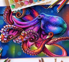 Glowing Colorful Drawings - Octopus by M Davidson - Octopus Drawing, Octopus Painting, Octopus Tattoo Design, Octopus Tattoos, Octopus Art, Fish Art, Painting & Drawing, Art Drawings Sketches, Animal Drawings