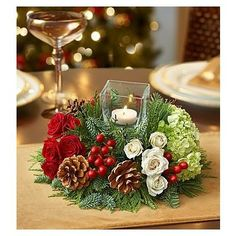 - Very Merry Modern Centerpiece - Medium Christmas And New Year, Christmas Time, Christmas Wreaths, Christmas Decorations, Table Decorations, Holiday Decor, Christmas Flowers, Christmas Flower Arrangements, Ikebana Flower Arrangement