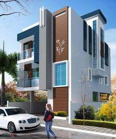 Most popular modern dream house exterior design ideas House Outer Design, Duplex House Design, House Front Design, Modern House Design, Front Elevation Designs, House Elevation, Building Elevation, Modern Exterior, Exterior Design