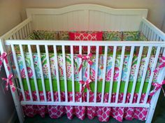 Crib Bedding Set Pink Aqua by butterbeansboutique on Etsy, $335.00