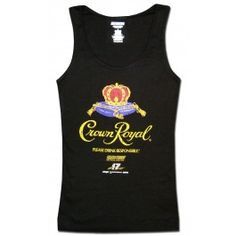 "This women's tank top is black with the Crown Royal nascar logo distressed across the front. The waistline on this tank top is elasticised.NOTE: This tank top runs largeApprox. Sizing:Medium - 15"" W 26""LLarge - 15.5"" W 27""LXLarge - 15.5"" W 29""LXXLarge - 17"" W 29.5"""