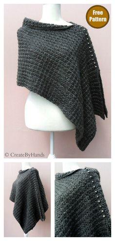 Voguish Poncho Free Crochet Pattern #freecrochetpattern #crochetponcho #crochetwrap #easycrochetpattern