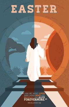 Iconic Christian Easter artwork of Jesus walking out of the tomb.