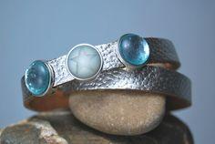 Lederwickelarmband silber mit Perlen von DaiSign auf DaWanda.com
