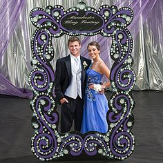 Create beautiful photo ops when posed behind this Black and Bling Fairytale Frame Prop. Each Fairytale Bling Photo Frame Prop is 6 feet 11 inches high.