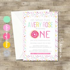 Donut Birthday Invitation Girl By T3DesignsCo First Invitations Party Invite