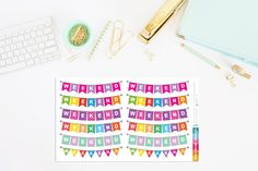 Weekend Bunting Planner Stickers by TheCleverDesign on Etsy