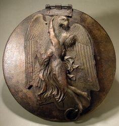 Bronze Greek folding mirror: Zeus abducted Ganymede in the form of an eagle Folding mirror (unit / mirror) Mid century BC. More precisely, to BC. Greek Artifacts, Historical Artifacts, Ancient Artifacts, Ancient Greek Art, Ancient Rome, Ancient Greece, Greek History, Ancient History, Art History