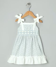 Love this Off-White & Blue Floral Smocked Dress - Toddler on #zulily! #zulilyfinds