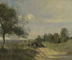 """https://www.facebook.com/MiaFeigelson  """"The Wagon ('Souvenir of Saintry')"""" (1874) By Jean-Baptiste-Camille Corot, from Paris (1796 - 1875) - oil on canvas; 46 x 55.9 cm - © The National Gallery, London, UK Presented by William Edward Brandt, Henry Augustus Brandt, Walter Augustus Brandt and Alice Mary Bleecker in memory of Rudolph Ernst Brandt, 1963 http://www.nationalgallery.org.uk/ https://www.facebook.com/thenationalgallery"""