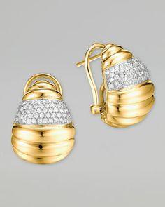 Bedeg 18k Gold Diamond Pave Buddha Belly Earrings  by John Hardy at Neiman Marcus.=3350.<3<3