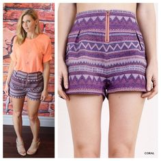 """High waist tribal woven shorts Nice thick woven fabric, contrasting exposed zipper trim.  Modeling size small.  Measurements for waist laying flat: S 13"""" M 14"""" L 15"""" length S 20"""" M 21"""" L 22"""", length S 13"""" M 14"""" L 14.5"""".   Available in S, M or L.  Please comment size needed if you would like to purchase and I can make you a personal listing.  Discounts available when bundling two or more items from my closet. UM1167211 Shorts"""
