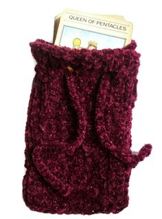 Hand knitted hats, festival tops,tarot card pouches, tea cosies and lots of handknit accessories. Festival Tops, Pentacle, Pouch Bag, Tarot, Hand Knitting, Knitted Hats, Velvet, Shapes, Bags