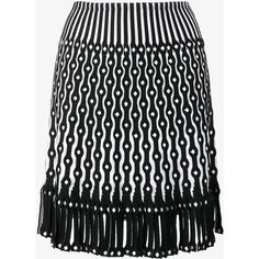 Alaïa knitted fringed eyelet skirt ($1,625) ❤ liked on Polyvore featuring skirts, alaïa, high-waisted skirts, fringe skirt, eyelet skirt and patterned skirts