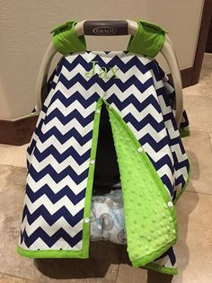 Items similar to Super Cute Baby Car Seat Covers – CHEVRON in Navy and White with Lime Green Minky – Baby Boy – Baby Shower Gift on Etsy Heather Ferguson would you be able to sew … Diy Baby Gifts, Baby Shower Gifts For Boys, Baby Crafts, Baby Boy Shower, Baby Boys, Carters Baby, Baby Boy Car Seats, Baby Boy Accessories, Diy Bebe