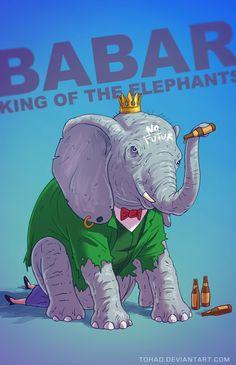 Babar king of the elephants - If Classic Childhood Characters Were Badass Lunatics via Kotaku - French digital artist Sylvain Sarrailh
