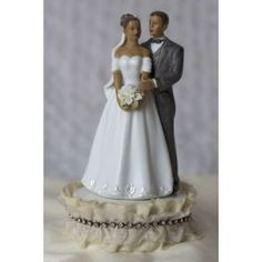 Antique Silk and Rhinestones African American Couple Wedding Cake Topper