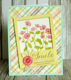 One little card to share today....        I made it using some Simple Stories patterned paper and the new stamp set that I got in my PTI Sta...