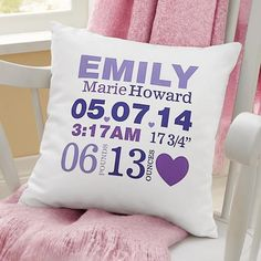 Sewing Ideas For Baby Love is in the Details Baby Throw Pillow - Celebrate your new arrival with a colorful accent for baby's room, featuring every important detail of their birth. Baby Pillows, Throw Pillows, Decor Pillows, Easy Baby Blanket, Personalized Baby Gifts, Personalized Pillows, Unique Baby Gifts, Baby Gifts For Girls, Christmas Pillow