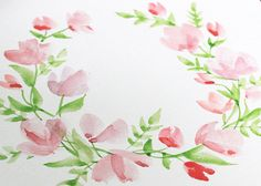 Today I wanted to share my latest Paint With Me video. This time around, I'm showing you how to create this lovely (and super easy) watercolour floral wreath! So many of you had asked me for a tutorial for a wreath like this, so I decided to put one together that even beginners can attempt. I wil