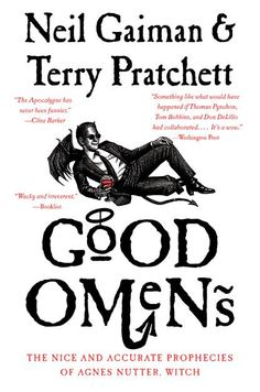 """Good Omens"" by Neil Gaiman and Terry Pratchett. http://www.amazon.com/Good-Omens-Accurate-Prophecies-Nutter/dp/0060853972/ref=sr_1_1?ie=UTF8&qid=1379036258&sr=8-1&keywords=good+omens+gaiman"