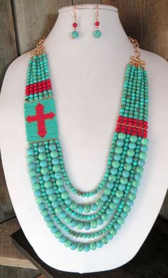 COWGIRL Necklace set Statement Turquoise Beads CROSS GYPSY BOHO WESTERN #Unbranded