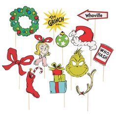 Even the biggest of Grinches can't resist these fun props! A Seussical addition to holiday party supplies, these photo stick props come designed. Grinch Trees, Grinch Christmas Party, Christmas Photo Booth, Grinch Party, Christmas Photos, Kids Christmas, Christmas Crafts, Kindergarten Christmas, Cosy Christmas