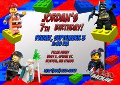Lego Movie 1 & 2 Birthday Invitations | Kustom Kreations Birthday Party Invitations Free, Lego Invitations, Handmade Invitations, Birthday Invitation Templates, Invitations Online, Lego City Birthday, Lego Birthday Cards, 2 Birthday, Surprise Birthday