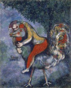 Marc Chagall,El gallo 1929.Museo Thyssen.Composición directamente relacionada con la ilustración de Fábulas de Fontaine, adecuadas a la fantasía e ironía. El gallo tenía un significado simbólico, desde antiguo en ritos relig.personific.el sol y fuego.