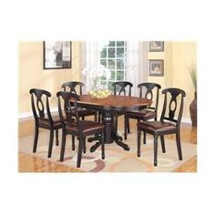 East West Furniture KENL5-BLK-LC Kenley 5PC with Single Pedestal Oval Dining Table and 4 Napoleon styled wood seat